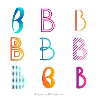 文字「b」の抽象的なロゴのパック
