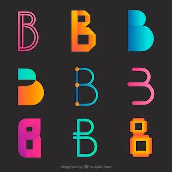 Набор современных цветных логотипов с буквой «b»