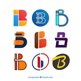 文字「b」の抽象的なロゴパック