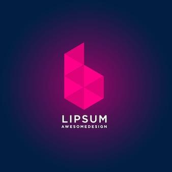 低ポリスタイルと抽象的なカラフルな文字bロゴデザイン
