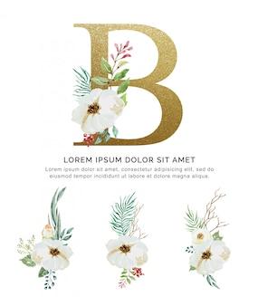 アルファベットb花束花と葉コレクション水彩画。