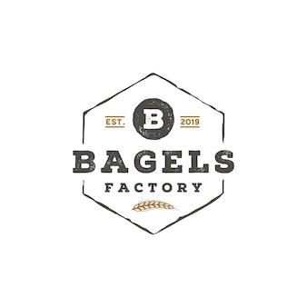 ベーグルのロゴデザインのための素朴なレトロなビンテージ文字b
