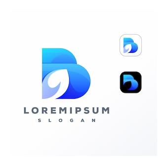 Красочная буква b и логотип листа