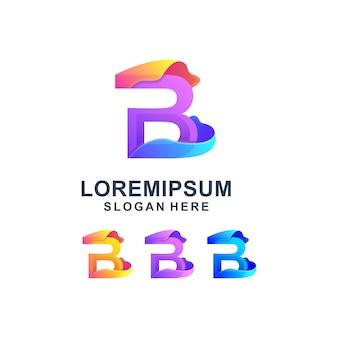 カラフルな抽象文字bロゴ