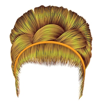 Babette of hairs with pigtail bright yellow colors. trendy women realistic 3d. retro hairstyle.