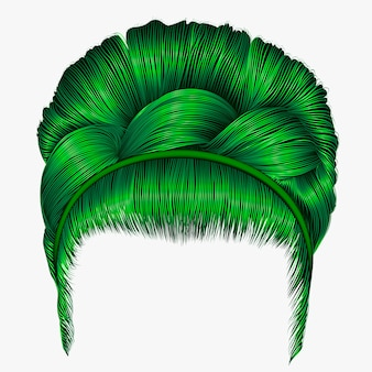 Babette of hairs with pigtail green colors . trendy women fashio