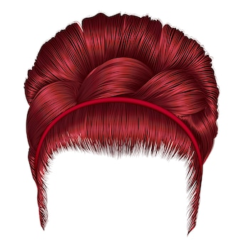 Babette of hairs with pigtail red colors. trendy women fashion. realistic 3d. retro hairstyle.