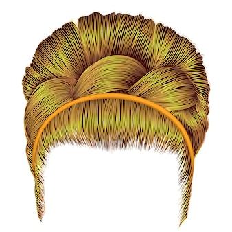 Бабетта из волосков с косичкой ярко-желтого цвета. модные женщины реалистичные 3d. ретро прическа.