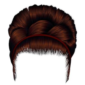 Бабетта ретро с волосами коричневого цвета.