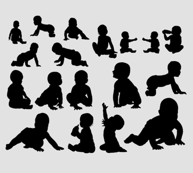 Babies action silhouette