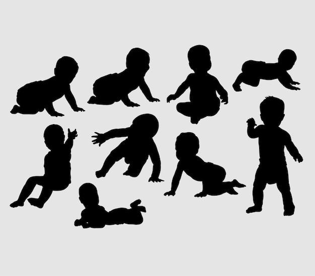 赤ちゃんの活動と訓練のシルエット