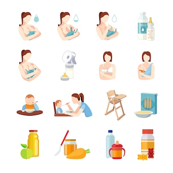 Babies breastfeeding positions and toddlers milk formula feeding with spoon flat elements set abstract isolated vector illustration