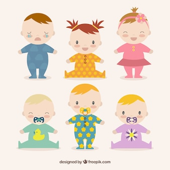 Babies collection in hand drawn style