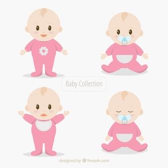 Коллекция младенцев в коллекции в плоском стиле