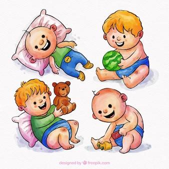 Коллекция младенцев в стиле акварели