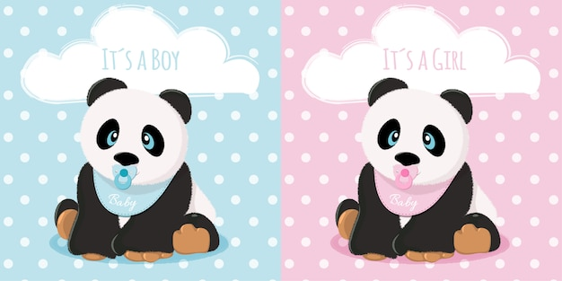 Babies panda boy and girl