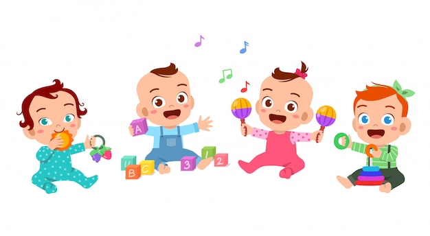 Babies play together illustration