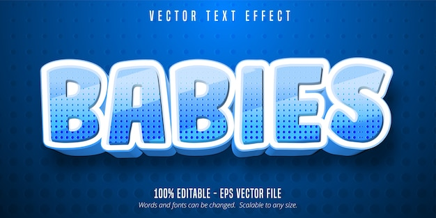 Babies text, cartoon style editable text effect
