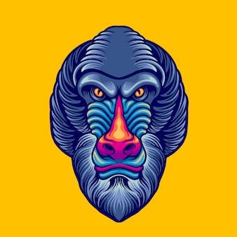 Baboon head mascot
