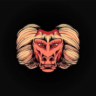 개코원숭이 머리 벡터 일러스트 레이 션, 티셔츠 또는 인쇄 제품에 적합한 현대적인 만화 스타일