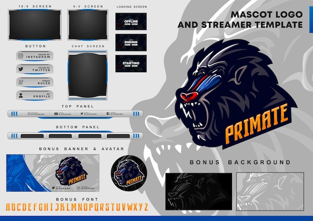 Baboon mascot logo and twitch overlay template