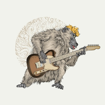 Baboon playing electric guitar in color hand drawing