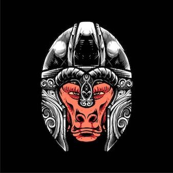 Baboon viking vector illustration, modern cartoony style suitable for t shirt or print products