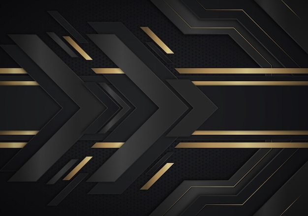 Babstract background with arrows gold and black dark