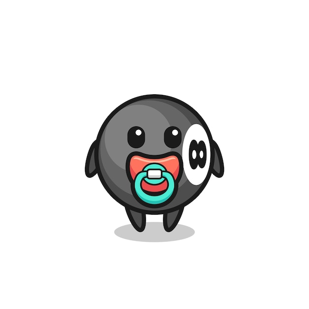 Baby 8 ball billiard cartoon character with pacifier , cute style design for t shirt, sticker, logo element