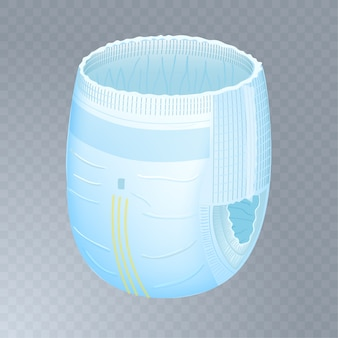 Baby absorbent diaper pants on transparent background.