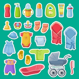 Baby accessories stickers isolated on green