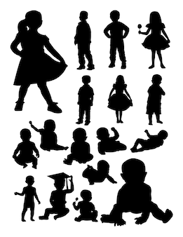 Baby and kid silhouette