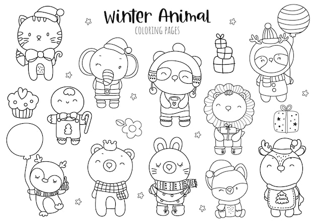 Раскраска рождество животных, рождество животных.
