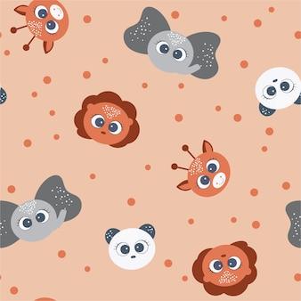 Baby animal cute seamless pattern
