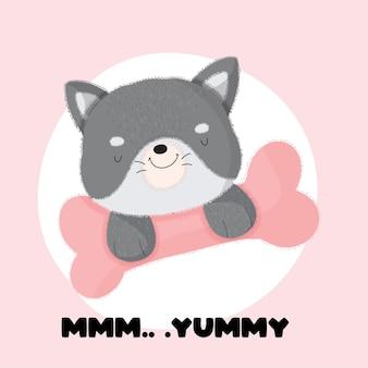 骨のかわいい漫画フラットスタイルの動物の赤ちゃん犬