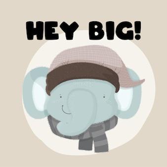 ボウタイかわいい漫画フラットスタイルの赤ちゃん動物象