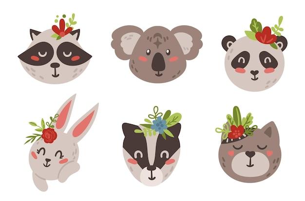아기 동물 얼굴 boho 클립 아트. 귀여운 아이 부족 동물
