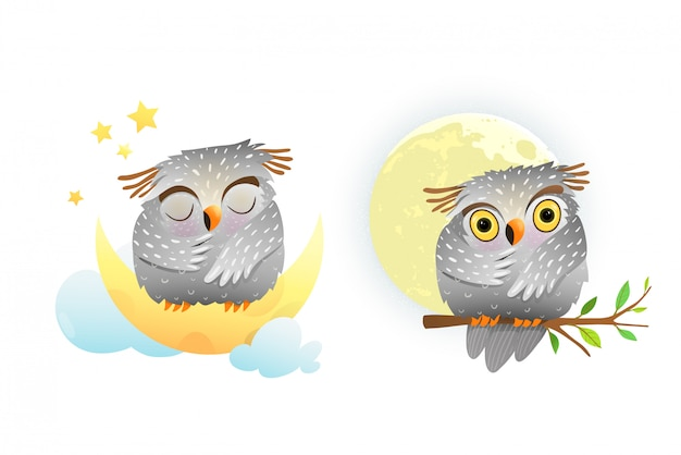 Baby animal owl sleeping and looking at moon sitting on the branch with stars in the sky. cute clipart for small children.
