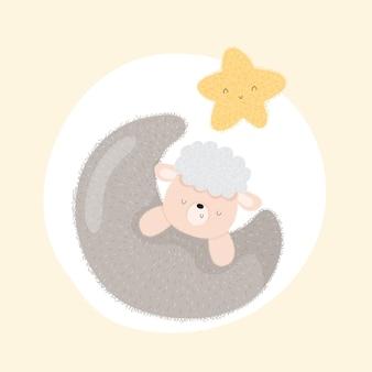 かわいい月の動物の赤ちゃん羊