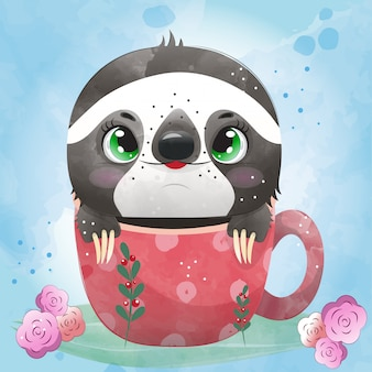 Baby animal sloth cute character painted with watercolor.
