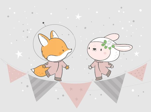 赤ちゃん動物キツネとパステルカラーのウサギ