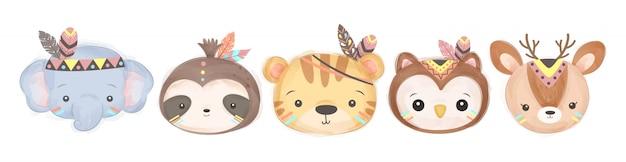 部族のファッションで赤ちゃん動物の頭