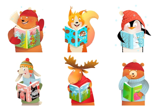 Baby animals for kids reading books and studying
