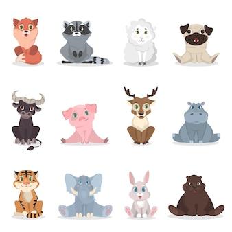Детские животные установлены. милый мультфильм животных на белом.