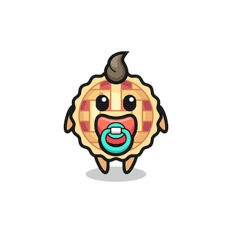 Baby apple pie cartoon character with pacifier , cute style design for t shirt, sticker, logo element