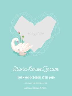 아름다운 백조와 기하학 사진 프레임, 인사말 또는 초대 카드, 벡터의 기하학적 꽃 프레임의 그림이 있는 아기 도착 알림