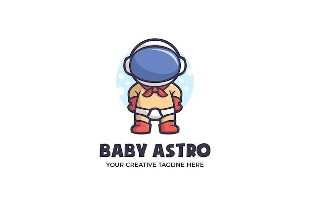 Baby astronaut galaxy spaceship mascot character logo template
