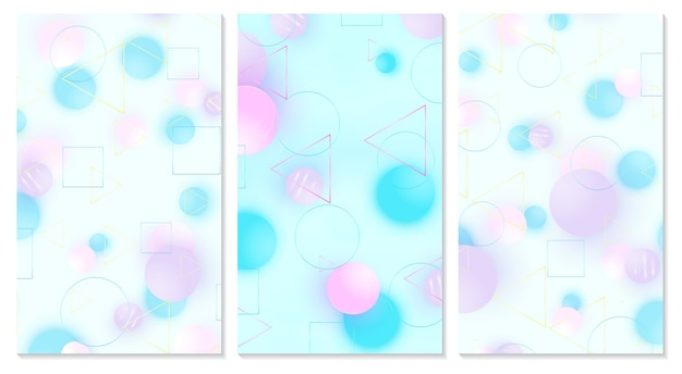Baby background. cover set. design template. soft pattern. creative decoration. pink, blue, violet balls. fun concept. cute baby background.