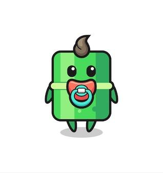 Детский бамбук мультипликационный персонаж с соской, милый стиль дизайна для футболки, стикер, элемент логотипа