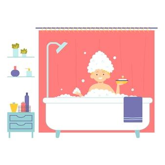 赤ちゃんは泡のある浴槽で入浴します。衛生。ベクトルイラスト。フラットスタイルのキャラクター。